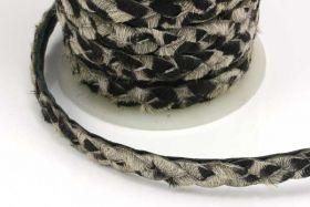 Flettet skind med pels zebra 1/2 mtr