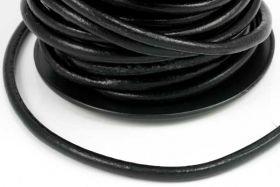 Lædersnøre sort 2 mm