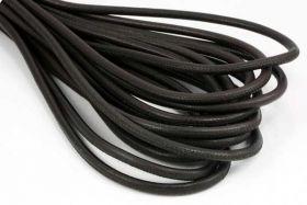 Randsyet læder mørk brun 6 mm 1/2 mtr.
