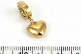 Rustfri stål click vedhæng hjerte guld