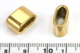 Rustfri stål led guld hul 12x4,5 mm