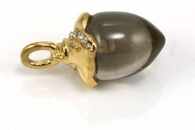 Rustfri stål vedhæng lille dråbe guld/røg quartz