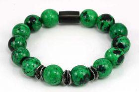 Armbånd med grøn Malakit, og rustfri stål