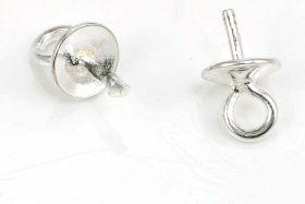 Skrue til halvboret perle sterling sølv