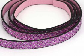 Flad imiteret læder med glimmer 10x2 mm