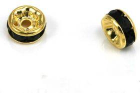 Guldfarvet rhinsten rondel sort 5 mm