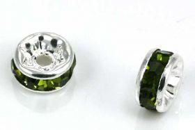 Sølvfarvet rhinsten rondel grøn 5 mm