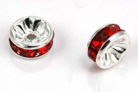 Sølvfarvet rhinsten rondel rød 8 mm