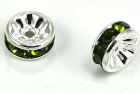 Sølvfarvet rhinsten rondel grøn 8 mm