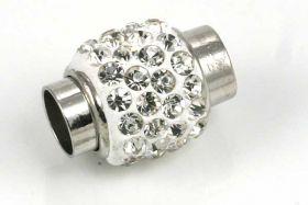 Magnetlås med rhinsten hul 6 mm hvid