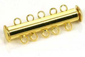 Smykkelås slide guldbelagt 30 x 6,6 mm