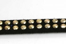 Ruskindsnøre med nitter Sort m/guld 5x2 mm