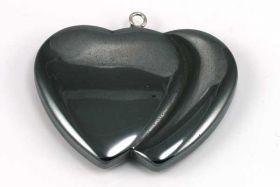 Hematit Dobbelt Hjerte 37x32 mm