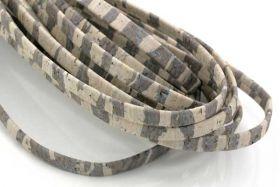 Kork snor 5 mm flad Lys/Zebra 0,5 mtr