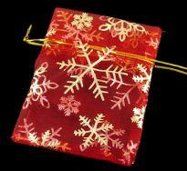 Organza pose Rød med julemotiv