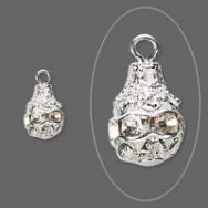 Rhinsten perle vedhæng 11 x 9 mm klar