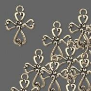Vedhæng kors antik guldfarvet