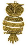 Vedhæng Ugle antik guldfarve 103 x 43 mm