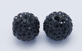 Rhinsten perle 8 mm sort