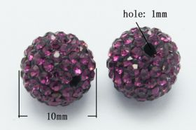 Rhinsten perler 10 mm lilla