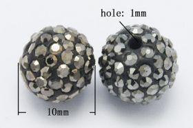 Rhinsten perle halvboret 10 mm sort/grå