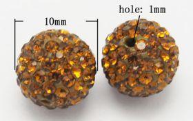 Rhinsten perler 10 mm gylden