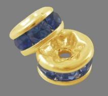Guldfarvet rhinsten rondel safir