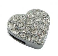 Slide perler hjerte platinfarve med rhinsten 5 stk