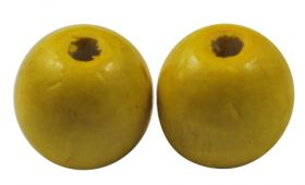 Træperler 12 mm gul 20 stk