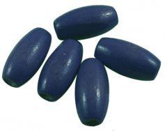 Træperler 8x12 mm mørk blå 20 stk