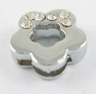 Slide perler Blomst med rhinsten 5 stk