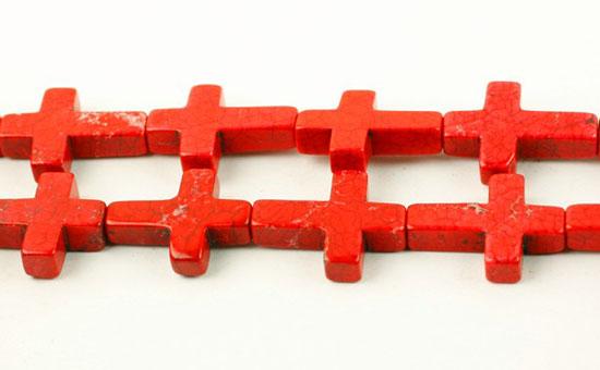 Magnesit kors 20x30 mm Rød