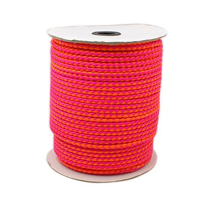 Imiteret lædersnøre pink/orange 4 mm