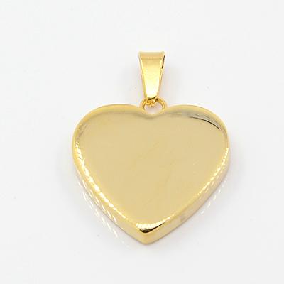Rustfri stål vedhæng hjerte guld