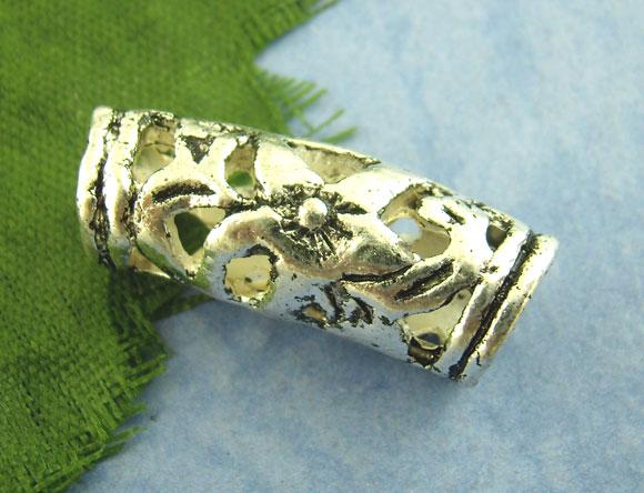 Perlerør antik sølv 20x7 mm