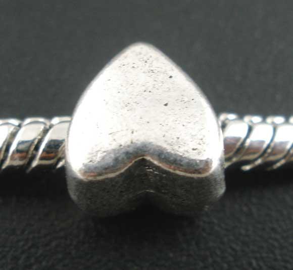 Metalperle hjerte 8 x 7 mm - 10 stk