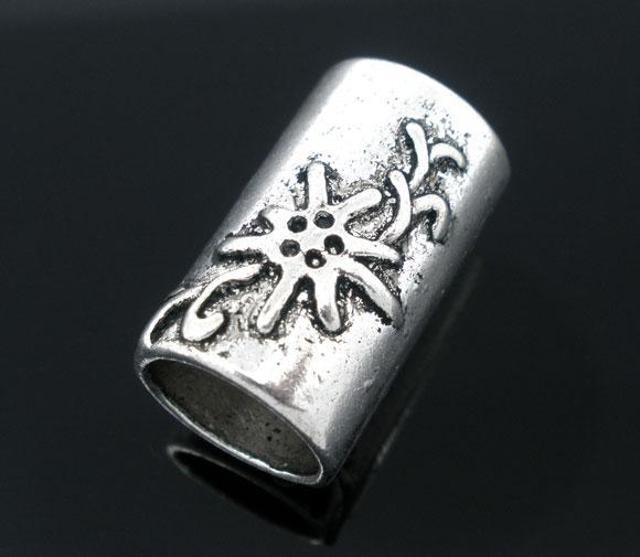 Metal perle med mønster 20x13 mm