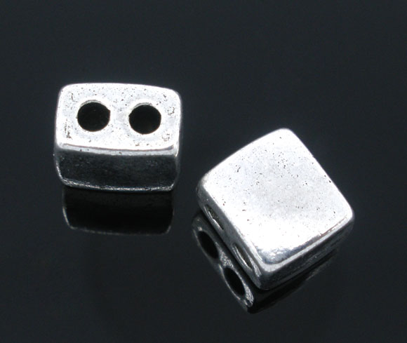 Metalperle m. 2 huller 9x8 mm