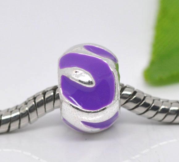 Metal perle med emalje 8x12 mm lilla