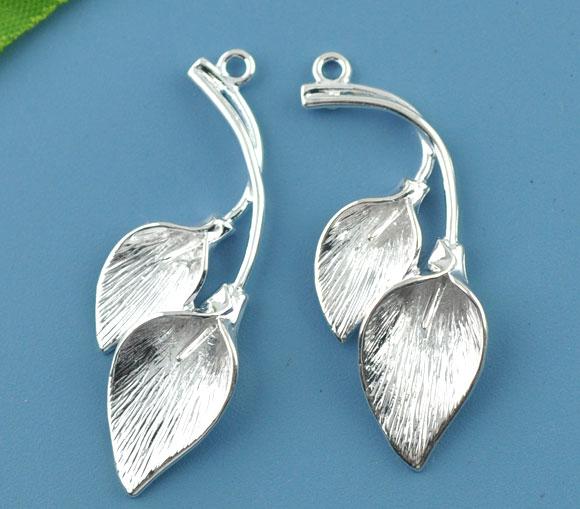 Vedhæng blad sølv belagt