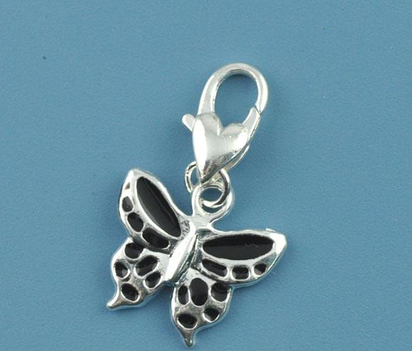 Clip on vedhæng sommerfugl sort emalje