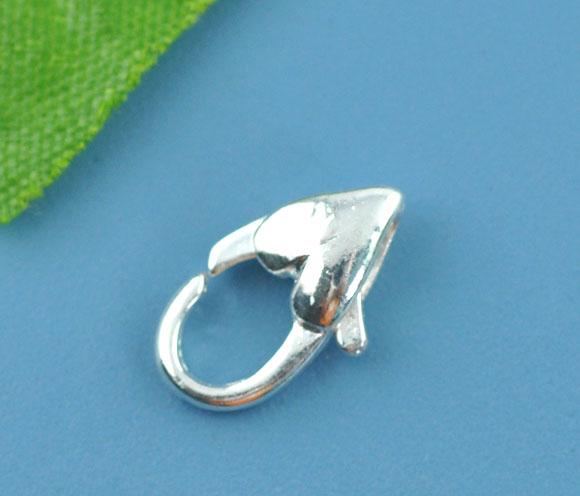 Smykkelås sølvbelagt hjerte 12x17 mm 10 stk