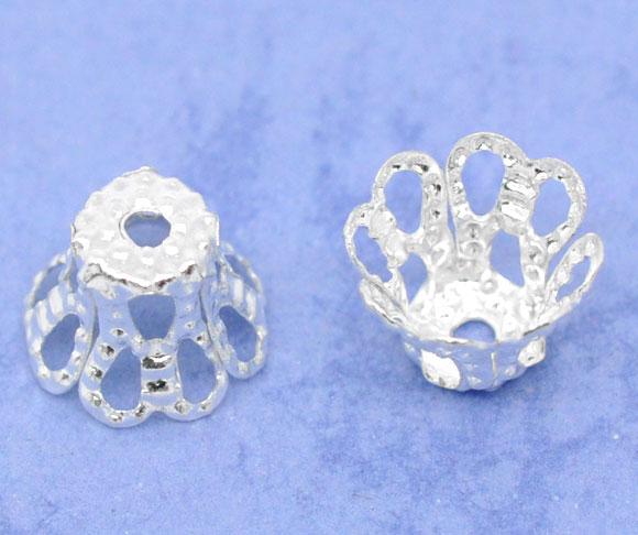 Perlehatte 6,5 mm sølvbelagt filigran 20 stk