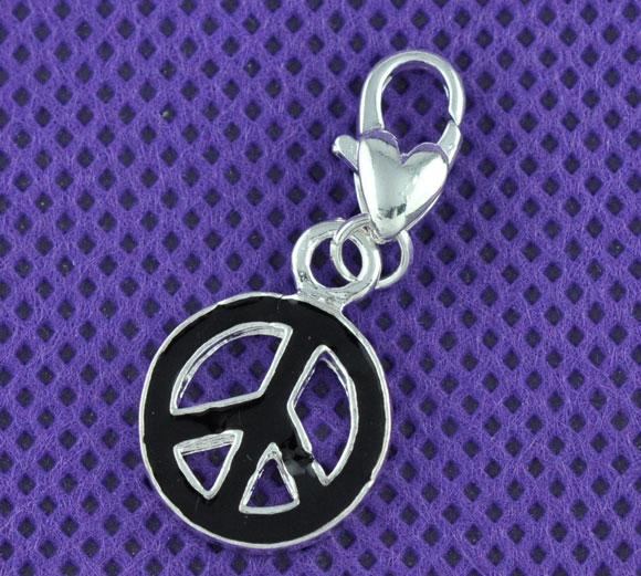 Clip on vedhæng Peace sort