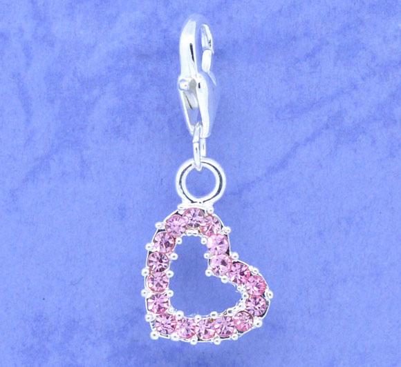 Clip on vedhæng hjerte rosa