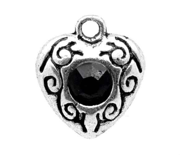Vedhæng hjerte med sort rhinsten 5 stk