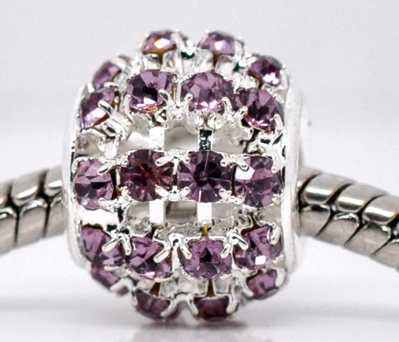 Metal perle med rhinsten 12 x 11mm violet