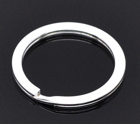 Nøglering sølv belagt flad 30 mm