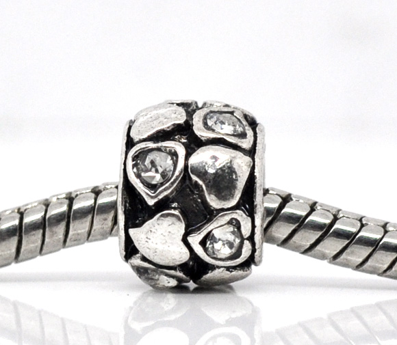 Metalperle med hjerter og rhinsten klar