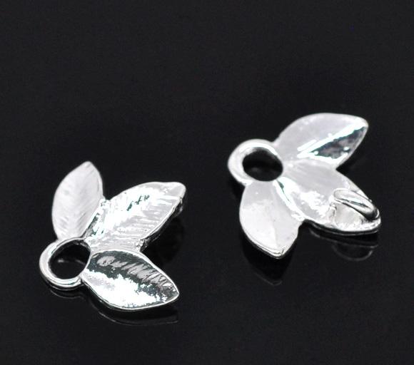 Vedhæng blad sølv belagt 10 stk